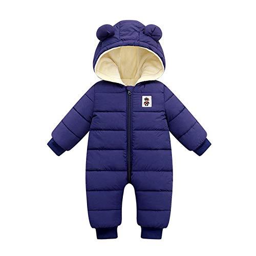 Zhen+ Unisex Baby Overall für 0-24 Monate Junge Mädchen Strampler Jumpsuit Daunenmantel mit Kapuzen Warme Winter Säugling Spielanzug Schlafanzug Outfit Wintermantel (3-6 Monate, Blau*)