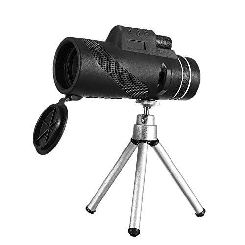 QFWM Prismáticos plegables, 40 x 60, HD, monoculares, bajo nivel de luz, visión nocturna, resistente al agua, telescopio para observación de aves