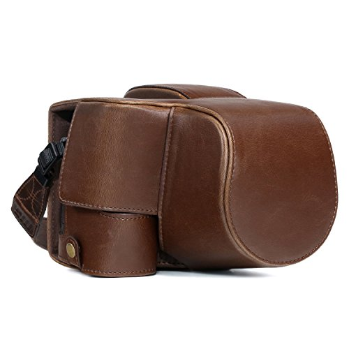 MegaGear Sony Cyber-Shot DSC-RX10 IV, DSC-RX10 III Ever Ready Leather Camera Case and Strap, with Battery Access - Dark Brown - MG761