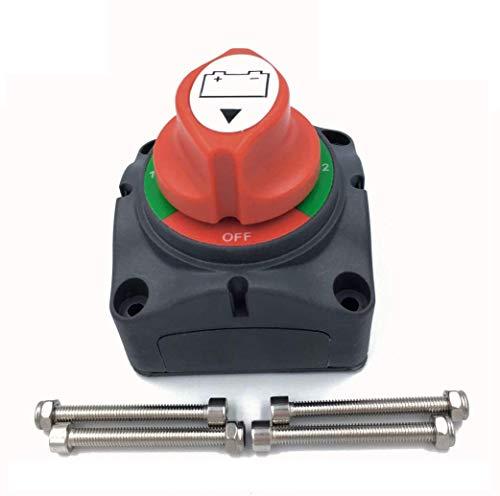 NSTART Interruptor de Aislamiento de Batería,12 V/24 V/48 V 275A Batería Desconexión Rotatorio Cortó Master Aislador Interruptor 1-2-Both-OFF para RV Marine Barco Coche Vehículos