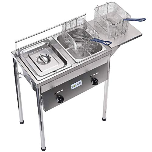 BX02 heavy duty two tanks deep fryer-compatible with propane gas tank-adjustable temperature-with 2 baskets and stainless steel tank.