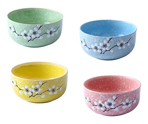 Japanese Style Desserts Bowls Set of 4 Color (Yellow,Blue,Green,Pink),7.8 OZ, Cereal Bowls, Cherry Blossoms Snowflake Pattern Ceramic Bowls