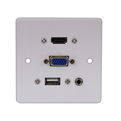 LINDY Wandanschlussplatte VGA/HDMI/USB/3.5mm Stereo 60220