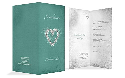 Hochzeitskarten: Hochzeit Einladungskarte glamour heart 2, hochwertige Einladung zur Heirat inklusive Umschläge | 15 Karten (format: 105.00x215.00mm) color: Türkis