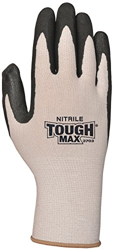 Bellingham C3703L Nitrile TOUGH MAX Work Gloves, Breathable Micro Foam Nitrile Palm and Fingertips, Coolmax Moisture Wicking Fiber, Large, Grey