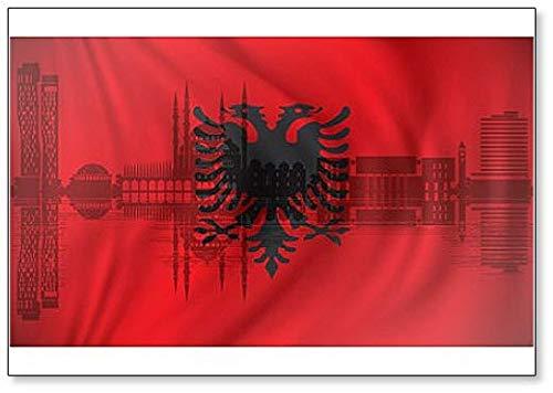 Kühlschrankmagnet Flagge Albanien mit Tirana Skyline