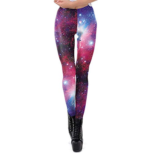 Idingding Ugly Christmas Leggings for Women, Funny Holiday Galaxy Star Warm Printed Leggings Pants, Upgraded Purple, L