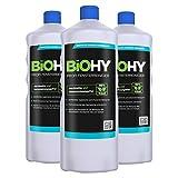 BIOHY Profi Fensterreiniger 3 x 1 Liter Flaschen | Glasreiniger Konzentrat, ideal für Fenstersauger | Streifenfreie Reinigung von Glas-, Fenster-& Spiegelflächen