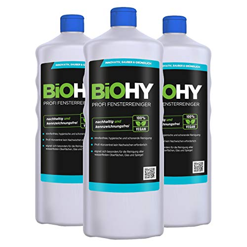 BiOHY Limpiacristales profesional (3 botellas de 1 litro) | Limpiador concentrado de vidrios, para de ventanas | Limpieza optima de vidrios, ventanas y espejos (Profi Fensterreiniger)