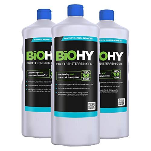 BiOHY Profi Fensterreiniger (3x1l Flasche) | Glasreiniger Konzentrat, ideal für alle FENSTERSAUGER, Kärcher, Leifheit, etc. | Streifenfreie Reinigung von Glas-, Fenster- & Spiegelflächen