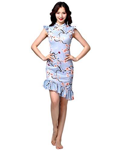 Grouptap Chinesische asiatische Seide Frauen Mädchen Blumenspitze Phantasie Qipao Cheongsam Tanzkleid Kostüm Blau Damen ärmellos (Blau, EU 34-36, 40-50 kg)