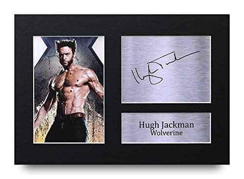 HWC Trading Hugh Jackman A4 Ungerahmt Signiert Gedruckt Autogramme Bild Druck-Fotoanzeige Geschenk Für Wolverine X-Men Filmfans