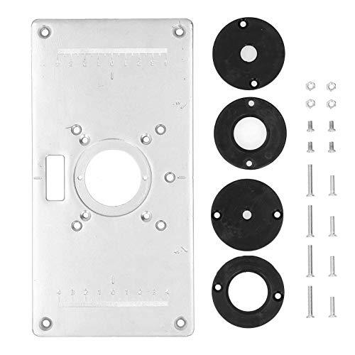 Router Tischeinsatzplatte, Aluminiumlegierungsplatte Trimmmaschine Flip Board, Tischeinlageplatte Zimmerei Zubehör für die Holzbearbeitung