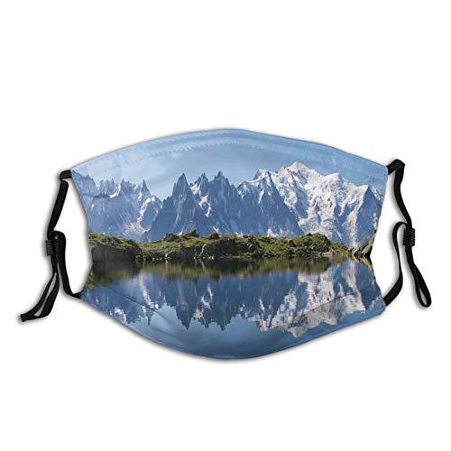 FULIYA Mascarillas faciales lavables reutilizables para mujeres y hombres, cordillera Mont Blanc reflejada en Cheserys Lake Alps Francia Panorama, 12 x 19 cm, tamaño mediano, unisex adulto