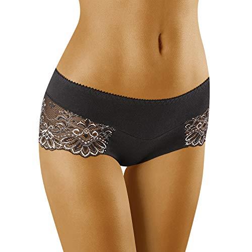 Wolbar Damen Hipsters Shorts Unterhose Unterwäsche WB420, Schwarz,Medium