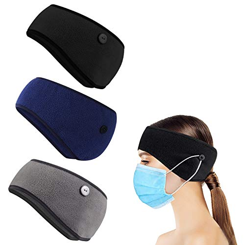 Lurcos Thermal Headband with Buttons for Face Mask, Fleece Ear Warmer Headband with Buttons, Winter Ear Muffs Headband for Men Women for Running, Skiing, Outdoors Sports (Black,Grey,Navy Blue)