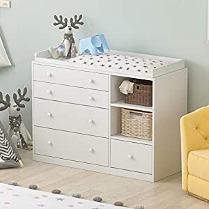 "Nursery Dresser with 5 Drawer & 2 Shelves, White Wood Chest of Drawers Nightstand for Storage, Bedroom Living Room Nursery (47.2""L x 19.7""W x 33.3""H)"
