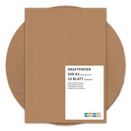 Partycards Kraftpapier braun 280 g/m² – Naturkarton in hochwertiger Qualität als Bastelpapier, Kartonpapier, Fotokarton, Hochzeitskarten (DIN A3, 25 Blatt)
