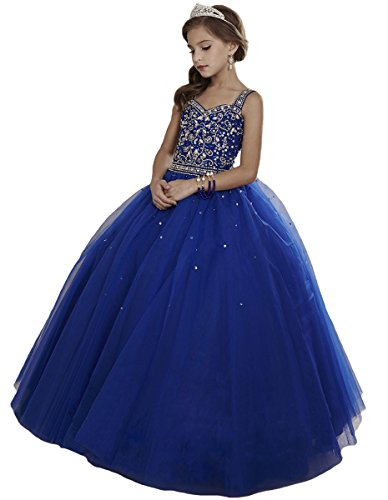 HuaMei Girls Princess Tulle Beaded Straps Ball Gowns Flower Girl Pageant Dresses 6 US Royal Blue
