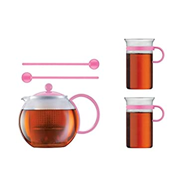 Bodum Limited Edition 70th Anniversary Assum Tea Press Set - Glass Teapot Press (34 Oz), Glass Mugs & Spoons (Pink)