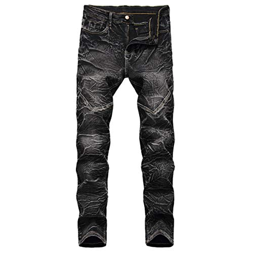 Men's Vintage Stretch Skinny Moto Biker Jeans Comfy Fashion Denim Pants Black