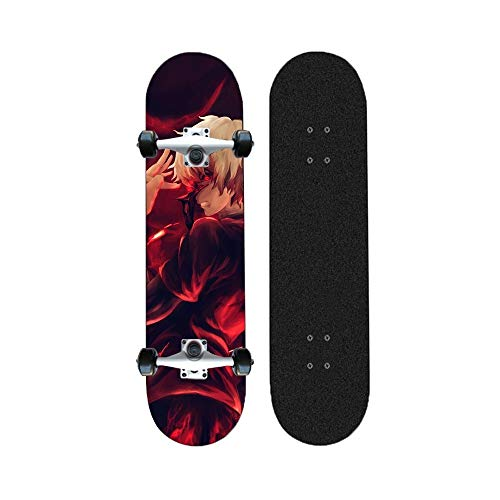Yizhi Skateboard Longboards, Tokyo Ghoul Professional Standard Anime Skateboards Maple Concave Deck vierrädrige Scooter for Anfänger Erwachsene Teens 31 Zoll