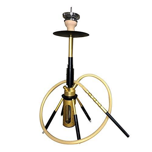 NA Gel Nail Shisha Set, Rakete Huka Aluminiumlegierung Rohr, mit LED-Leuchten Shisha Zubehör, für Nachtclub Ktv Große Bar,Yellow Black