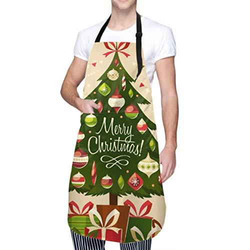 SUUJ Unisex Schürze, wasserdicht langlebig verstellbar Weihnachtsbaum Geschenke Karte Kochschürzen Lustige Schürzen zum Geschirrspülen BBQ Grill Restaurant Garden