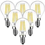6x 4W Bombillas Vintage LED E14 (Casquillo Fino), Bombilla Edison con Filamento de 470 Lúmenes, 2700K Blanco Cálido, P45 Bombillas Retro Decorativa Equivalente a 40W - ANWIO.