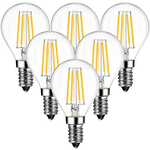 ANWIO Lampadina Filamento LED attacco E14,4W Equivalenti a 40W,470Lm,Luce Bianca Calda 2700K, Forma G45,Consumo Basso,Risparmio Energetico,Non Dimmerabile - Pacco da 6 Pezzi