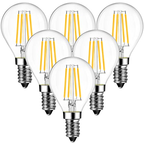 ANWIO E14 LED Filament ersetzt 40W Glühlampen Fadenlampe Warmweiß 2700K, 4.5W P45 LED Leuchtmittel, 470lm, nicht dimmbar, 6er Pack
