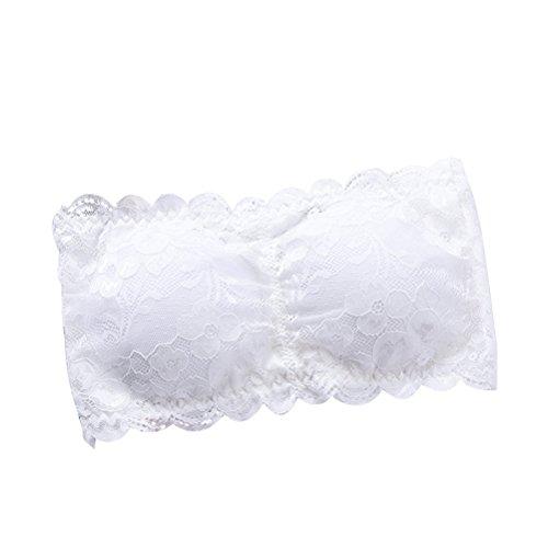 Tinksky Damen-Spitze-Bandeau-Rohr-Büstenhalter-Oberseite Futter-Schlauch-Ernte trägerloses nahtloses Stretchy Bandeau-Oberseite (weiß)