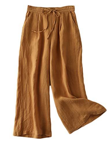 Mordenmiss Women's Linen Drawstring Pants Wide Leg Elastic Waist Cropped Pants Trousers (XXL, Coffee)