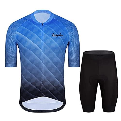 Jersey de Ciclismo para Hombre Camisetas de Ciclismo para Hombres Tops Camisas de Ciclismo de Manga Corta y Pantalones Cortos Conjunto de Ropa de Bicicleta con Cremallera Completa Chaqueta de bicicle