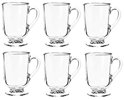 KADAX Gläser, Kaffeegläser, 6er Set, 300ml, Teegläser aus hochwertigem Glas, Trinkgläser für Tee, Kaffee, Cappuccino, Wasser, Saft, Drink, Eistee, Saftgläser mit Griff, Gläserset