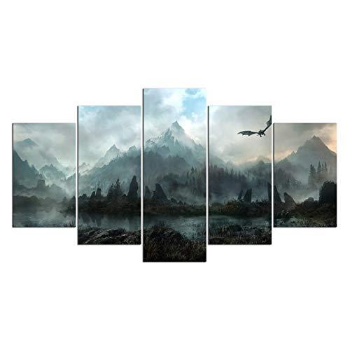 Leinwand Wandkunst, Wall Art Pictures Home Decor 5 Stück Game of Thrones Drachen Skyrim Gemälde for Wohnzimmer Modular Drucke Poster No Frame (Size (Inch) : 10X15 10X20 10X25CM)