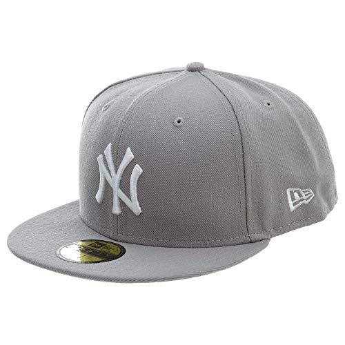 New Era Men's Hat New York Yankees MLB Basic Gray Fitted Cap 11591125 (7 1/2)