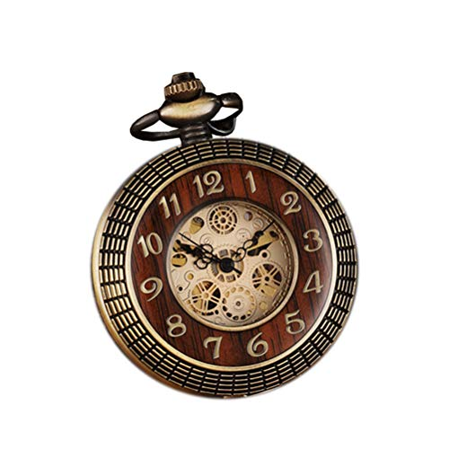 Retro-Taschenuhr, Holz, rund, geschnitzt, mechanisch, mit Kette, für Geschenk, Ziffernblatt, römische Ziffern, Steampunk-Uhr (Bronze)