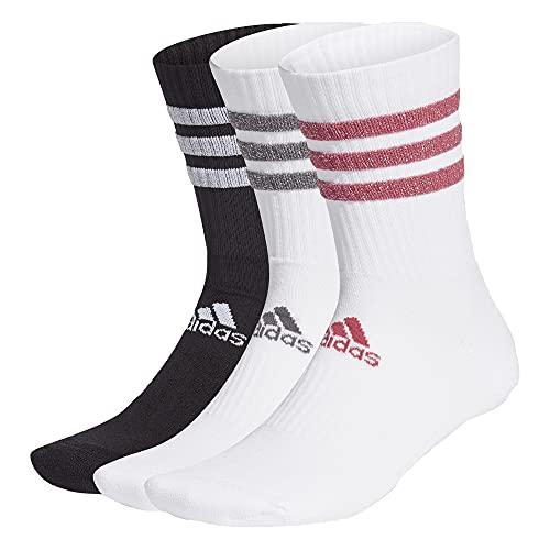 adidas Glam Crew Essential 3 Stripes Socks Socken 3er Pack (S, white/black/pink, s)