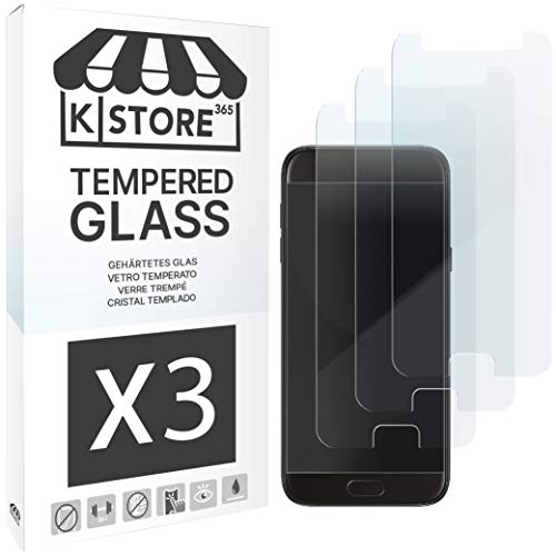 [3 Piezas] Cristal Templado Samsung A3 2017, Protector De Pantalla Samsung A3 2017 Vidrio Templado Con [Adhesivo En Todo El Cristal] [9H Dureza] [2.5D Borde Redondeado] Para Samsung Galaxy A3 2017