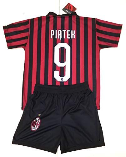 Completo PIATEK Milan Ufficiale 2019/2020 Bambino Ragazzo Uomo Maglia + Pantaloncini Pantaloncino Home Krzysztof Piątek 9 (10 Anni)