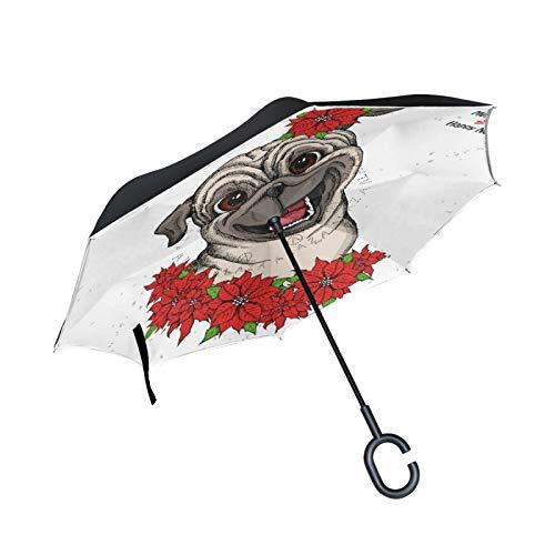 Double Layer Inverted Umbrella Winddichte Regensonnen-Regenschirme im Freien mit C-förmigem Griff - süßer Mops-Kopf und Weihnachtsblumen-roter Weihnachtsstern