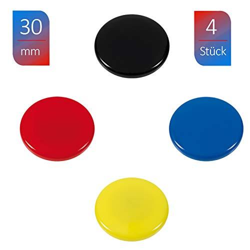 WESTCOTT Haftmagnete 4er Pack, 30 mm, rund, je 1x schwarz, rot, blau, gelb E-10823 00