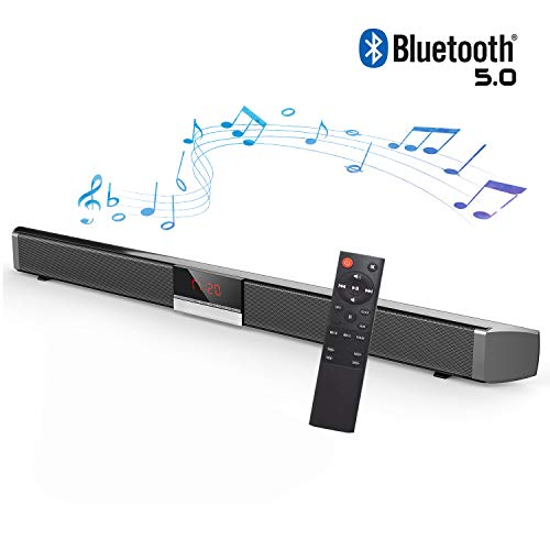 Sound Bars for TV, Soundbar with Built-In Subwoofer Surround Sound, Soundbar with Wireless 5.0 Bluetooth Home Theater System, Surround Sound Bar for TV, PC, Cellphone. RCA Cable Included