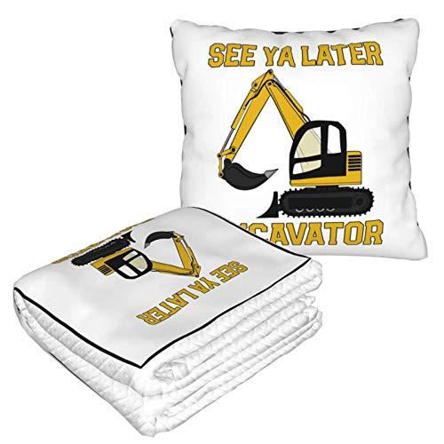 See Ya Later Excavator Living Room Sofa Throw Pillow Blanket Business Traveling Soft Plush Blanket Velvet Pillow