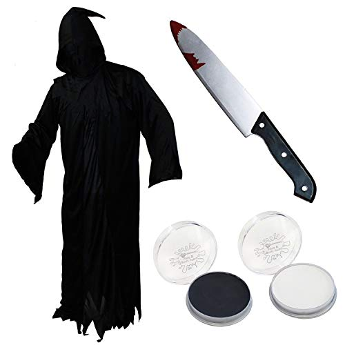 ILOVEFANCYDRESS Déguisement de Screamer pour Halloween comprenant peignoir noir et blanc + couteau couvert de sang Taille XL