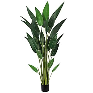 Silk Flower Arrangements Artiflr 5.3Ft Artificial Bird of Paradise Plant Fake Tropical Palm Tree with 25 Detachable Trunks Faux Tropical Plant Tree for Indoor Outdoor, Perfect for Home Office Garden Store Decoration