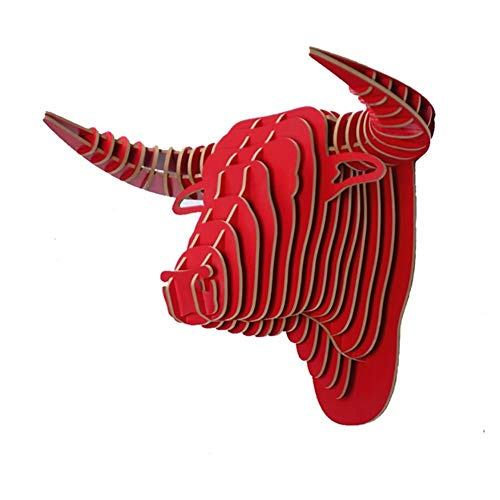 QCLU Wood Bull Head Wall Decoration,3D DIY Assembled Wooden Living Room Bedroom Office Christmas Wall Decoration Wall Mount Animal Hanging Sculptures Kits (Color : Red)