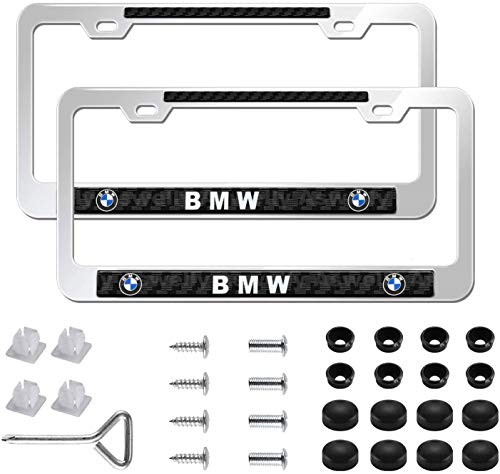 Aswelly Car License Plate Frame for BMW,2 Pcs Newest Silver Aluminum Alloy Auto Plate Frames Covers with Screw Caps Cover Set,Applicable to US CA Standard