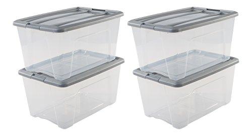 Amazon Basics, Juego de 4 Cajas de Almacenamiento, 45 L, con Cierre a Presión, Apilable, Sala de Estar, Dormitorio, Garaje - New Top Box Ntb-45 - Gris y Transparente